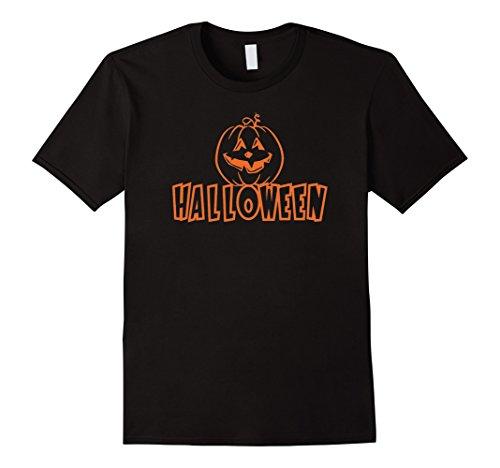 Men's JACK O' LANTERN PUMPKIN Halloween Costume T-Shirt Large Black (Halaween Costume)