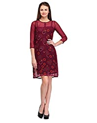 Colornext Georgette Maroon Dress for Women (Size: Small)