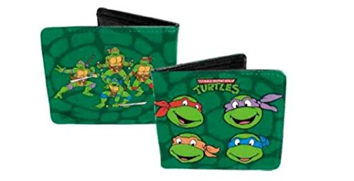TMNT Ninja Turtle Faces Green Leather Bifold Wallet
