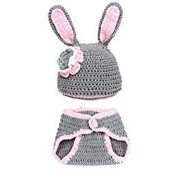 BubuBibi Photography Prop Gray Easter Bunny Rabbit Crochet Costume Hat & Diaper
