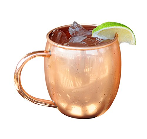 Copper Barrel Mug for Moscow Mules - 16 oz - 100% pure copper by ALCHEMADE - includes free E-Recipe Book (Round Rolling Beverage Cooler compare prices)