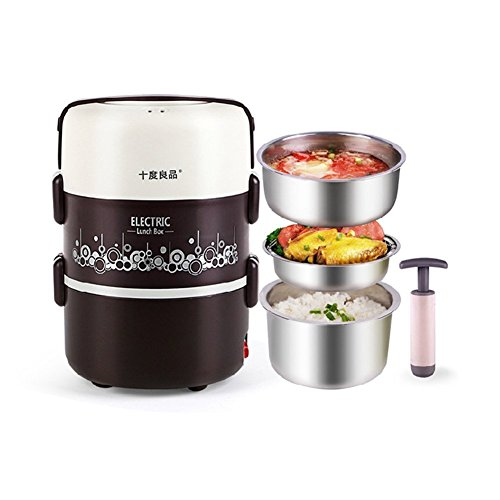 Electric Heating Lunch Box Stainless Steel Container Set Warmer Food Storage Jar Portable Leak-proof Vacuum Pump Steamer Steaming Rack Insulated Keep Fresh with Flexible Handle,Coffee (Electric Lunch Box compare prices)