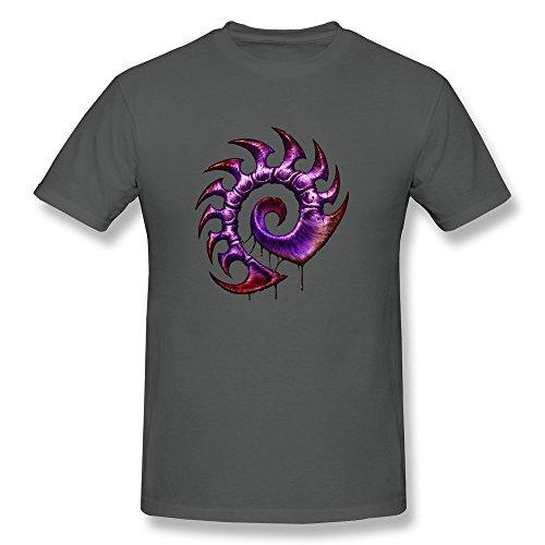 ZULA Men's Cute T Shirt Starcraft 2 Game Protoss Terran Zerg Symbol DeepHeather Size M