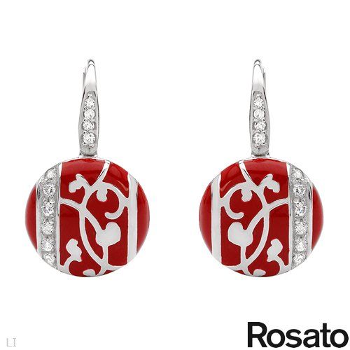 ROSATO Made in Italy Pleasant Earrings With Cubic zirconia Beautifully Crafted in Red Enamel and 925 Sterling silver. Total item weight 6.0g Length 25mm