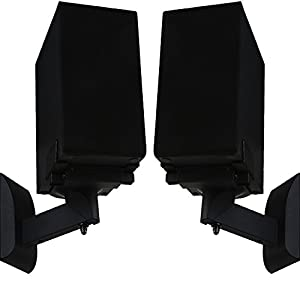 WALI One Pair of Side Clamping Bookshelf Speaker Mounting Bracket with Tilt and Swivel for Large Surrounding Sound Speakers SWM201, Black