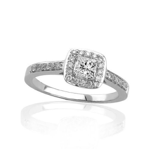 Engagement Rings Halo Style Square Shape Center Pave Set Diamond Engagement