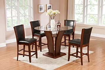 Furniture2go UFE-9305 Mirage 5pc Dining Set - Dining Table with 4 Chairs - Cherry - Solid Wood & Glass Top, Assembly Required