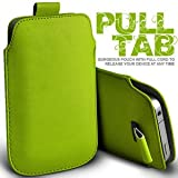 Gadgets World Pull Tab Pu Leather Pouch Cover Case Only Fits Samsung E1200,E2121 - green