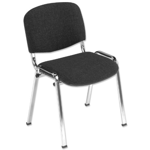 Trexus Stacking Chair Chrome with Seat W480xD450xH460mm Charcoal