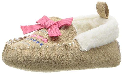 ABG Baby Girls' Fairisle Mocassin Slipper, Tan, 6-9 Months W US Infant