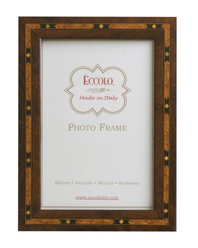 Eccolo Made in Italy Marquetry Wood Frame, Brown With Diamond Inlay, Holds an 8 x 10-Inch Photo