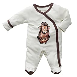 Baby Soy Janey Baby Organic Footie, 3-6M, Chimp - Acorn trim
