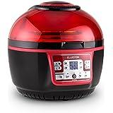Klarstein VitAir Turbo - Friteuse à air chaud de 1400W avec fonction grill pour la cuisson de viandes, gateaux, pizza... (capacité de 9L, divers programmes et accessoires) - rouge & noir