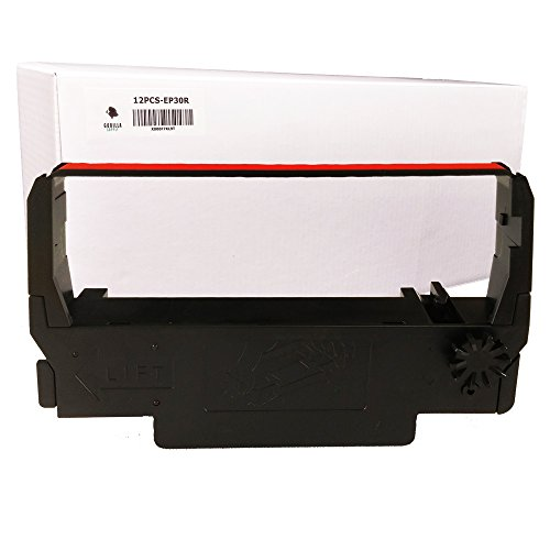Gorilla Supply EP30R Premium Compatible Ink Ribbon for Epson ERC 30/34/38, Black/Red, 12 Piece