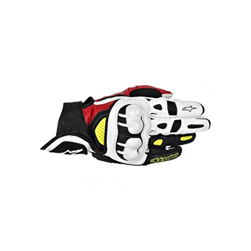Alpinestars GPX Men's Leather Street Bike Motorcycle Gloves - Black/Red/Yellow / X-Large