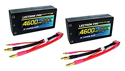 """2-Pack of Lectron Pro 7.4 volt - 4600mAh 100C """"Shorty"""" Lipo Pack"""