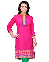 Awesome Fab Pink Color Brasso Fabric Women's Straight Kurti