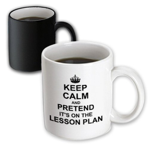 Mug_157780_3 Inspirationzstore Typography - Keep Calm And Pretend Its On The Lesson Plan - Funny Teacher Gifts - Teaching Humor - Humorous Fun - Mugs - 11Oz Magic Transforming Mug