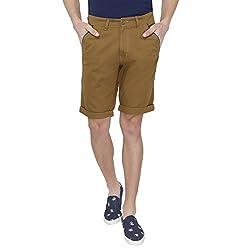 Origin Khaki Cotton Solid Capris for Men