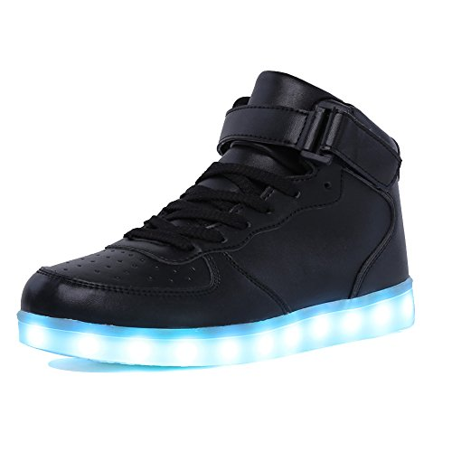 CIOR Kids Boy and Girl's High Top Led Sneakers Light Up Flashing Shoes For Halloween,101C,01,26
