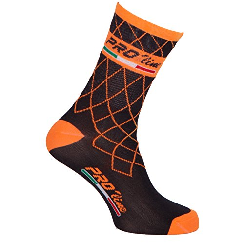 CALZINI CICLISMO PROLINE TEAM ARANCIONE FLUO CYCLING SOCKS 1 PAIO ONE SIZE NEW LINE