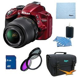Nikon D3200 DX-format Digital SLR Kit w/ 18-55mm DX VR Zoom Lens Pro Kit (Red)