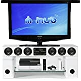 White Mi-Hub Quantum Black TV stand with integrated sound systemby mi hub