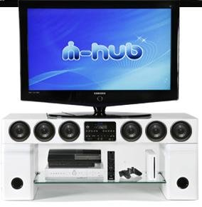 White Mi-Hub Quantum Black TV stand with integrated sound system