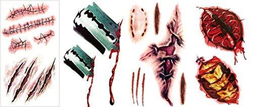 【SCGEHA】タトゥーシール ボディーシール 傷 特殊メイク用 リアル ハロウィン 仮装 切り傷 縫合裂傷 4枚セット