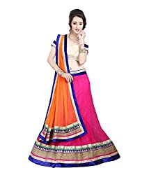 FabTexo Embroidered With Embellished Pink Material::Net Traditional Wedding Wear Lehenga Choli Set(Unstiched)