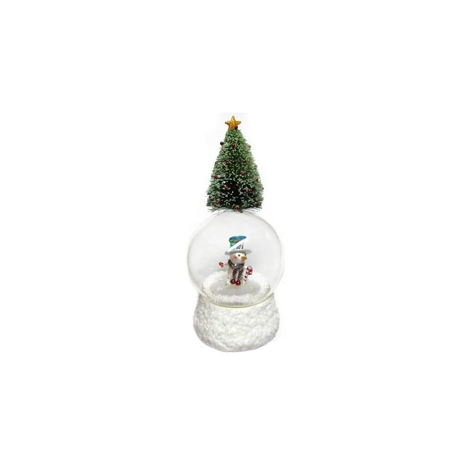 San Francisco Music Box Company   Tree Topped Snowman Water Globe