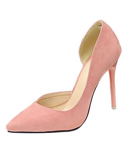 MIneroad Donna Scarpe Col Tacco Stiletto Scamosciato Semplice Elegante Partito Di Sera Sandali Pink EU 37
