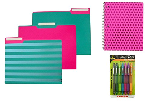 Teal and Hot Pink Stripes and Polka Dots File Folders, Notebook, and Multi Colored Ball Point Pens Set (20 Items)