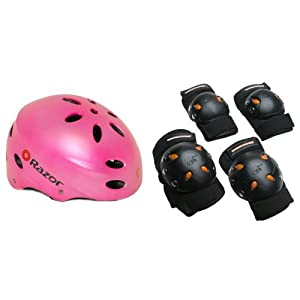 Razor V-17 Youth Multi-Sport Helmet (Satin Pink) Bundle