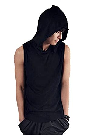 new mens sleeveless hoodie t shirt hooded tank top cotton. Black Bedroom Furniture Sets. Home Design Ideas