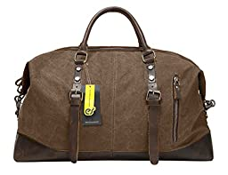 ECOSUSI Oversize Canvas Outdoor Overnight Handbag Weekend Travel Duffel Bag, Coffee