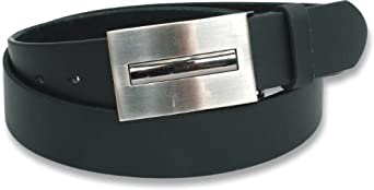 """BLACK MENS LEATHER LINED BELT WITH CHROME EFFECT BUCKLE (Large - 36"""" - 40"""")"""