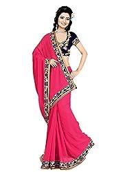 Aarya Designer Women's Georgette Saree (1001_Pink_Freesize)