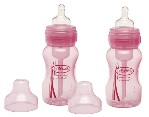Dr. Brown's Wide Neck Bottle - Pink - 8 oz - 2 ct