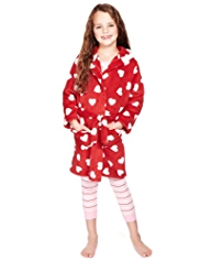 Hooded Heart Print Soft & Cosy Dressing Gown