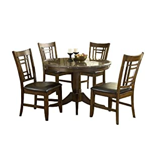 Hillsdale Patterson Round 5-Piece Dining Set, Dark Oak, Set Includes 1-Table and 4-Chairs