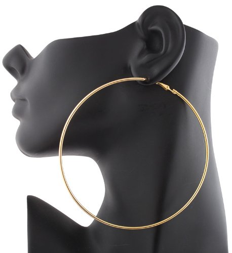 2 Pairs of Ladies Gold 4 Inch Hoop Earrings