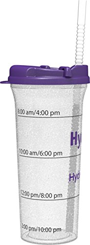 Hydr-8 32oz. Car Friendly Time Marked Water Bottle Purple (Water Bottle Time Markings compare prices)