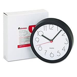 Universal® Cubicle Clock, 6in, Black, 1 AA Battery