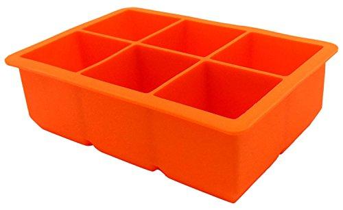 PuTwo Bacs à Glaçons 6 cubes carrés en Silicone Moule à Glace Glacière Idéal pour la vie quotidenne Plusieurs Couleurs - Orange