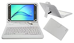 Acm Premium Usb Keyboard Case For Samsung Galaxy Tab A 8 Inch Tablet Cover Stand With Free Micro Usb Otg - White