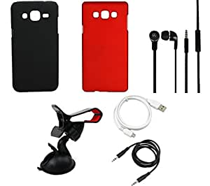NIROSHA Cover Case Headphone USB Cable Mobile Holder for Samsung Galaxy ON7 - Combo