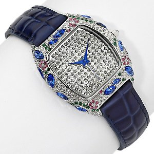 Limited Edition Couture Watches by Adrienne - Blue Embossed Leather Watch Pink Blue Green and White Crystals
