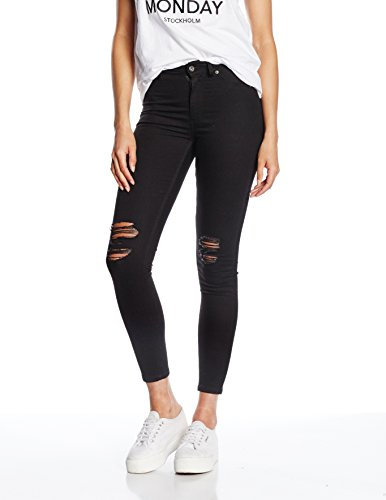 Cheap Monday High Spray Rip, Jeans da Donna, Colore Nero (Black), Taglia W24 (Taglia Produttore: W24/25)