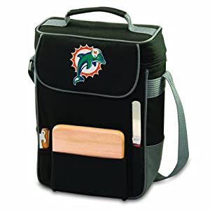 NFL Miami Dolphins Duet Insulated 2-Bottle Wine and Cheese Tote by Picnic Time